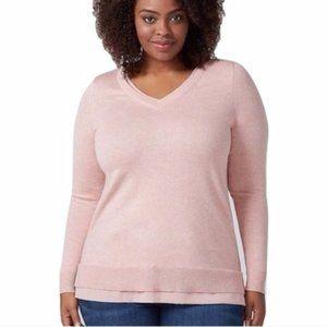 Lane Bryant Pink Chiffon Pullover Sweater Cardigan
